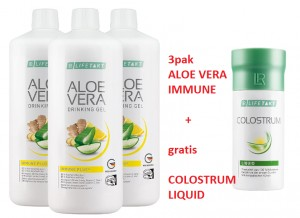 Żel do picia Aloe Vera Immune Plus z imbirem od LR 3pak + COLOSTRUM LIQUID